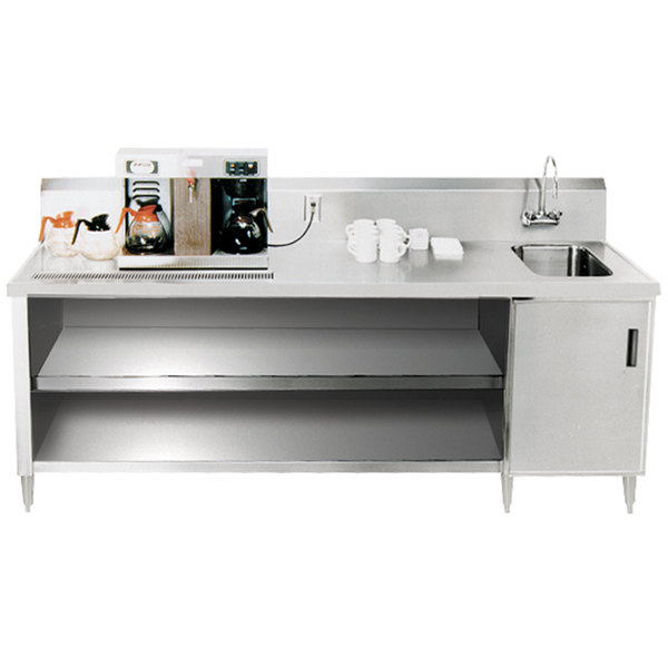 Sink on Right Advance Tabco BEV-30-108 Enclosed Base Beverage Table - 108""