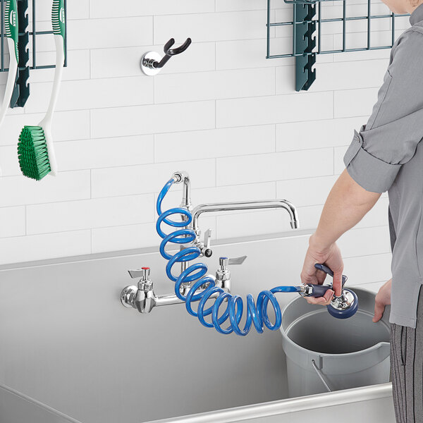 """Waterloo FWU810 2.4 GPM Wall-Mounted Pet Grooming / Utility Faucet with 8"""" Centers, 9' Coiled Hose, and 10"""" Add-On Faucet Main Image 5"""