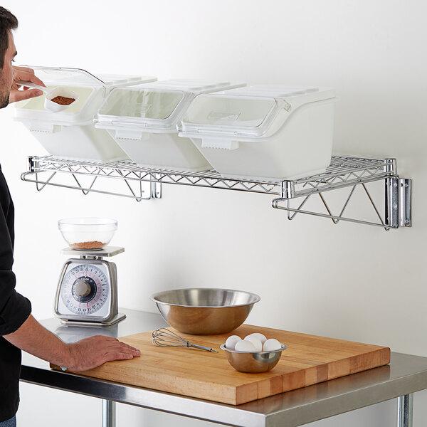 "Baker's Mark 18"" x 36"" Wall-Mounted Ingredient Bin Shelving Kit with 3 Clip-In Shelf Bins Main Image 2"