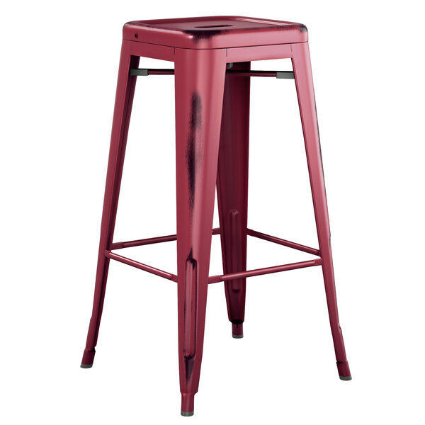 Lancaster Table & Seating Alloy Series Distressed Sangria Stackable Metal Indoor / Outdoor Industrial Barstool with Drain Hole Seat Main Image 1