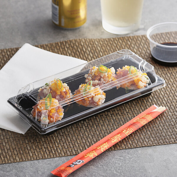 """Emperor's Select 3 1/2"""" x 8 1/2"""" Traditional Sushi Container with Lid - 400/Case Main Image 2"""