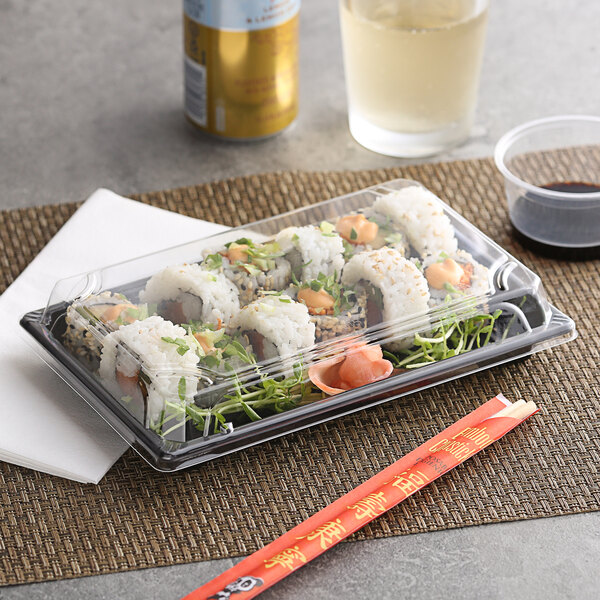 """Emperor's Select 5 1/4"""" x 8 1/2"""" Extra Large Sushi Container with Lid - 300/Case Main Image 2"""