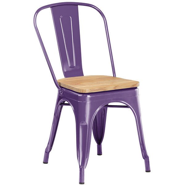 Lancaster Table & Seating Alloy Series Purple Metal Indoor Industrial Cafe Chair with Vertical Slat Back and Natural Wood Seat Main Image 1