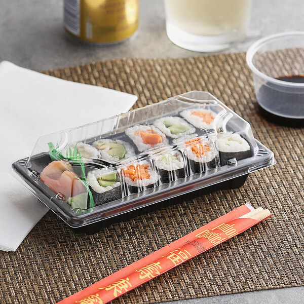 """Emperor's Select 3 1/2"""" x 6 1/2"""" Small Sushi Container with Lid - 50/Pack Main Image 2"""