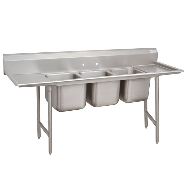 """Advance Tabco 9-83-60-36RL Super Saver Three Compartment Pot Sink with Two Drainboards - 139"""""""