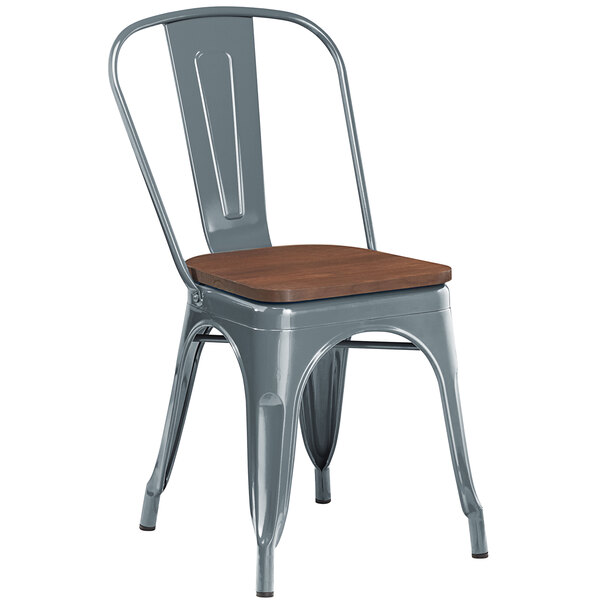 Lancaster Table & Seating Alloy Series Charcoal Metal Indoor Industrial Cafe Chair with Vertical Slat Back and Walnut Wood Seat Main Image 1