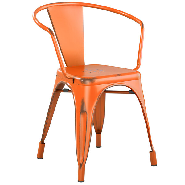 Lancaster Table & Seating Alloy Series Distressed Orange Metal Indoor / Outdoor Industrial Cafe Arm Chair Main Image 1