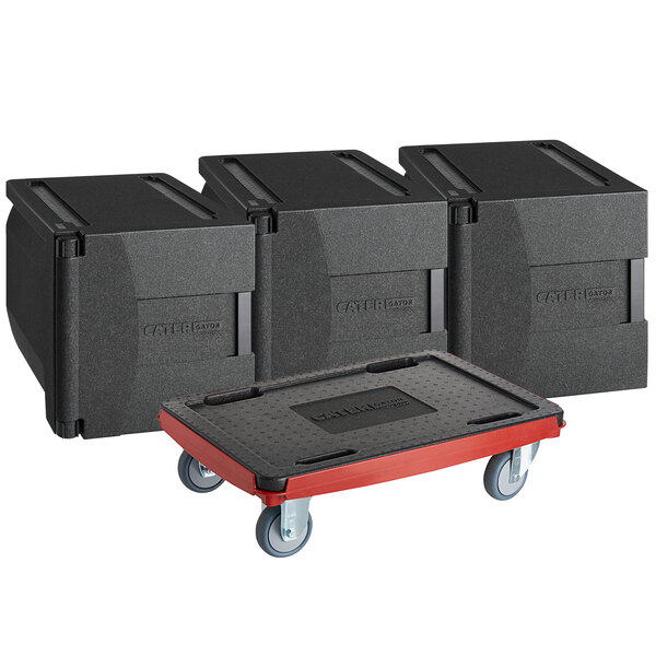 CaterGator Dash Black Insulated EPP Pan Carrier Kit with Three 5-Pan Front Load Carriers and Red Compact Dolly Main Image 1