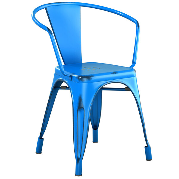 Lancaster Table & Seating Alloy Series Distressed Blue Metal Indoor / Outdoor Industrial Cafe Arm Chair Main Image 1
