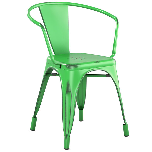 Lancaster Table & Seating Alloy Series Distressed Green Metal Indoor / Outdoor Industrial Cafe Arm Chair Main Image 1
