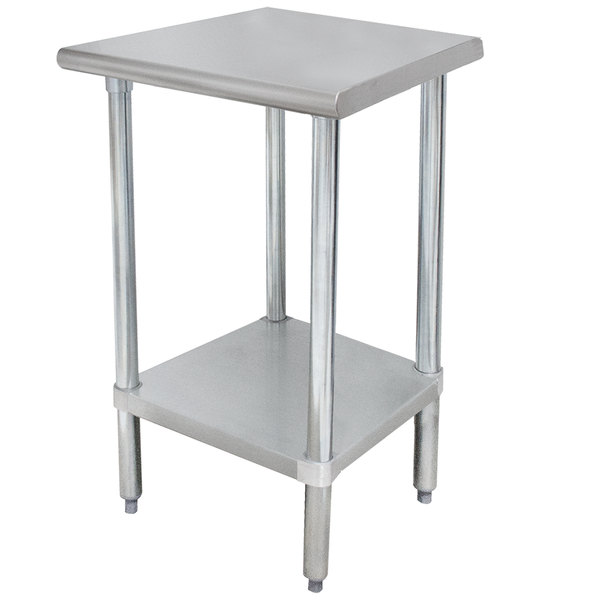 "Advance Tabco ELAG-242-X 24"" x 24"" 16 Gauge Stainless Steel Work Table with Galvanized Undershelf"