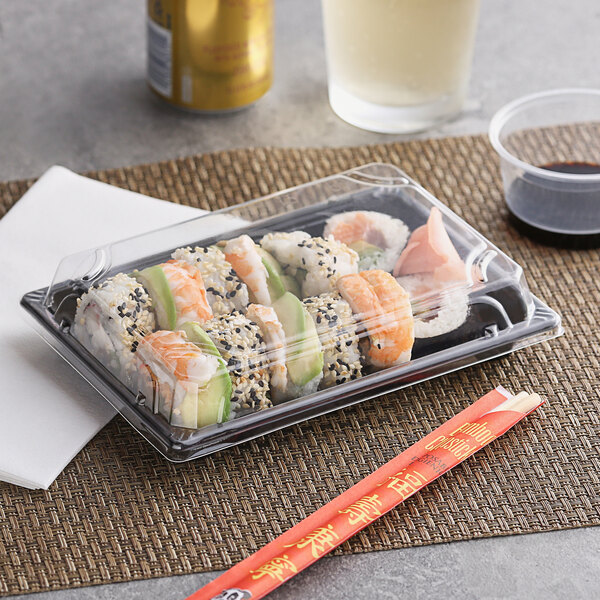 """Emperor's Select 5"""" x 7 1/2"""" Large Sushi Container with Lid - 300/Case Main Image 2"""