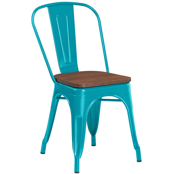 Lancaster Table & Seating Alloy Series Teal Metal Indoor Industrial Cafe Chair with Vertical Slat Back and Walnut Wood Seat Main Image 1