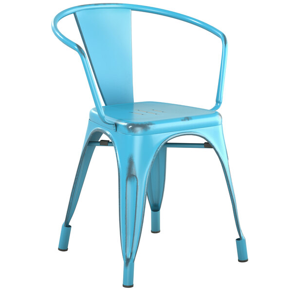 Lancaster Table & Seating Alloy Series Distressed Arctic Blue Metal Indoor / Outdoor Industrial Cafe Arm Chair Main Image 1