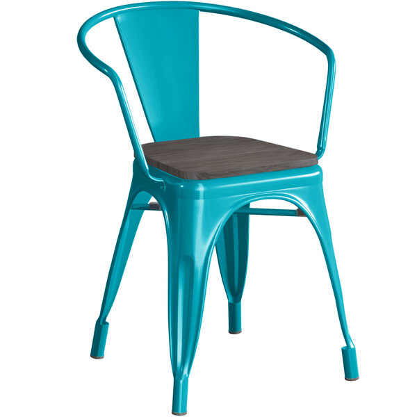 Lancaster Table & Seating Alloy Series Teal Metal Indoor Industrial Cafe Arm Chair with Black Wood Seat Main Image 1