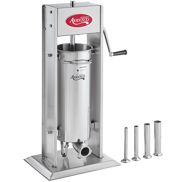 """Avantco SS-20V 20 lb. Stainless Steel Vertical Manual Sausage Stuffer with 1/2"""", 3/4"""", 1 1/4"""", and 1 1/2"""" Stainless Steel Funnels Main Image 1"""