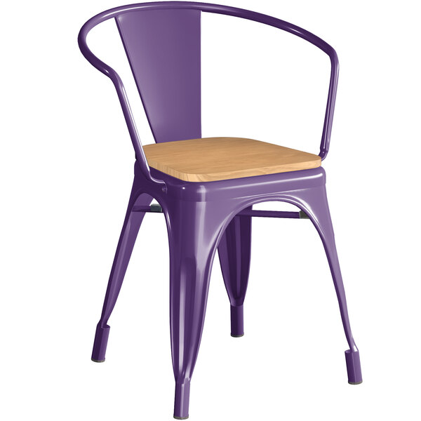 Lancaster Table & Seating Alloy Series Purple Metal Indoor Industrial Cafe Arm Chair with Natural Wood Seat Main Image 1