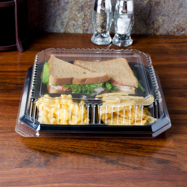 "Genpak SQ90 10"" Clear Square Dome Lid - 200/Case"