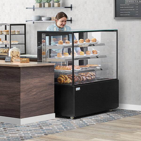 """Avantco BCD-48-SB 48"""" Black Square Dry Bakery Display Case Main Image 4"""