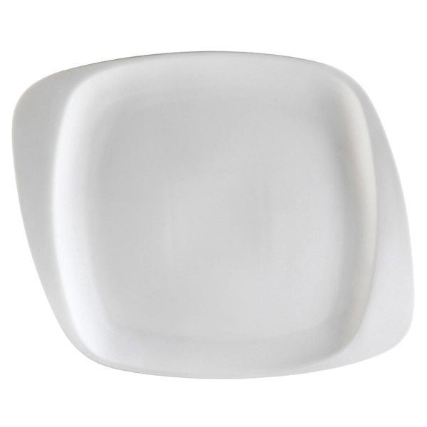 "CAC WH-9 White Pearl 9 1/2"" New Bone White Porcelain Square Plate - 24/Case"