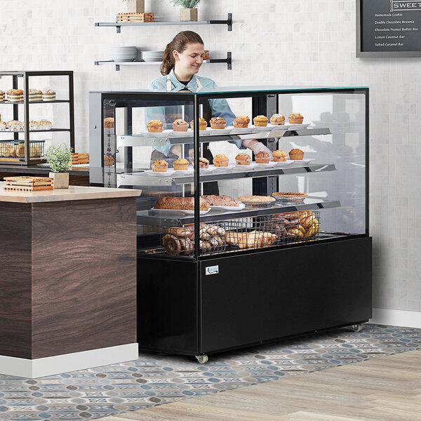"""Avantco BCD-60-SB 60"""" Black Square Dry Bakery Display Case Main Image 3"""