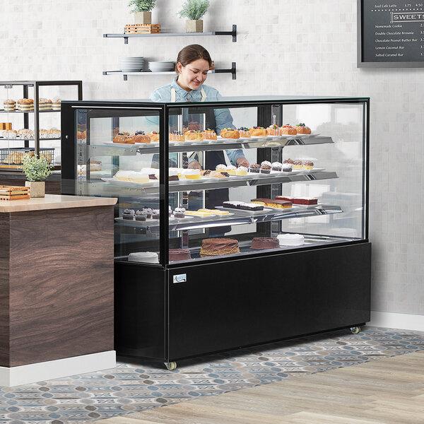 "Avantco BC-72-SB 72"" Black Square Refrigerated Bakery Display Case with LED Lighting Main Image 3"