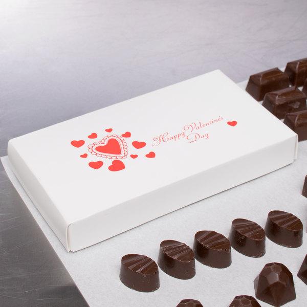 "7 3/8"" x 4"" x 1 1/8"" 2-Piece 1/2 lb. Valentine's Day Candy Box - 125/Case Main Image 4"