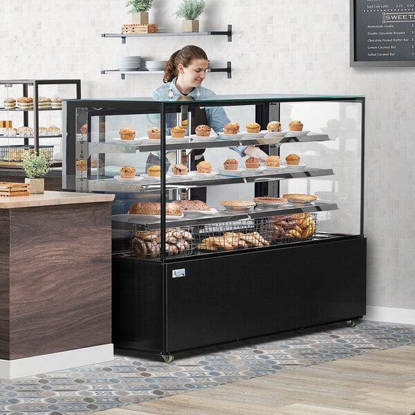 """Avantco BCD-72-SB 72"""" Black Square Dry Bakery Display Case Main Image 5"""