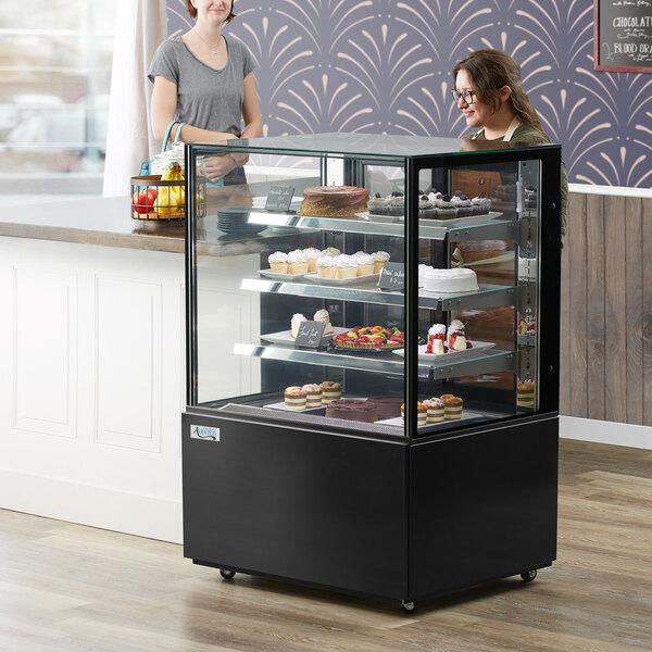 "Avantco BC-36-SB 36"" Black Square Refrigerated Bakery Display Case with LED Lighting Main Image 6"