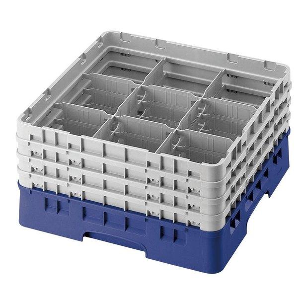 "Cambro 9S958168 Blue Camrack Customizable 9 Compartment 10 1/8"" Glass Rack Main Image 1"