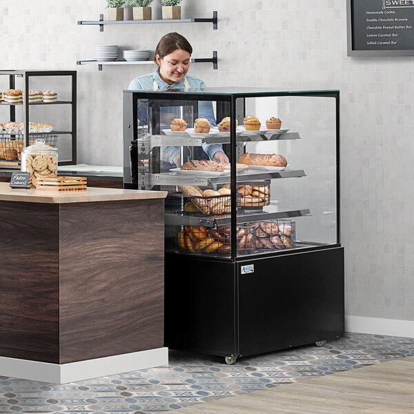 """Avantco BCD-36-SB 36"""" Black Square Dry Bakery Display Case Main Image 5"""