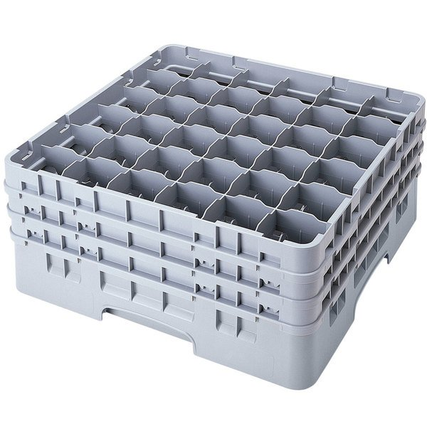 "Cambro 36S958151 Soft Gray Camrack Customizable 36 Compartment 10 1/8"" Glass Rack"