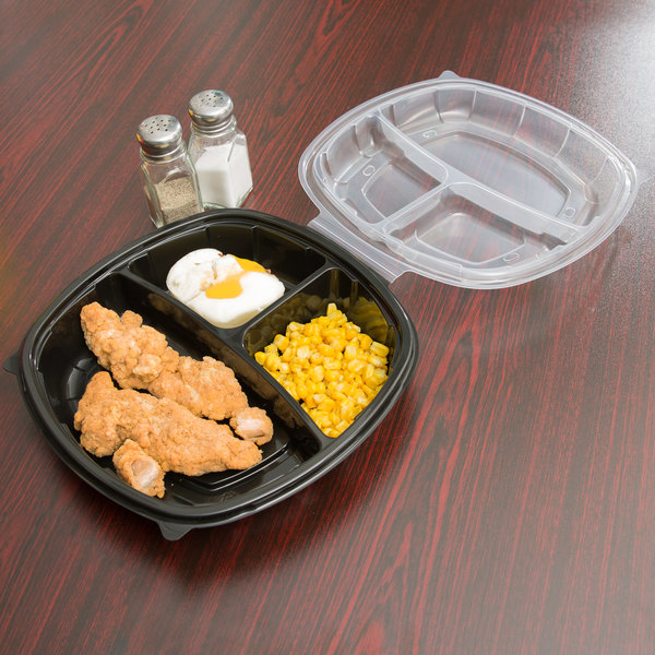 """10"""" x 10"""" x 3"""" Large 3 Compartment Microwaveable Plastic Hinged Take-Out Container - 148/Case"""
