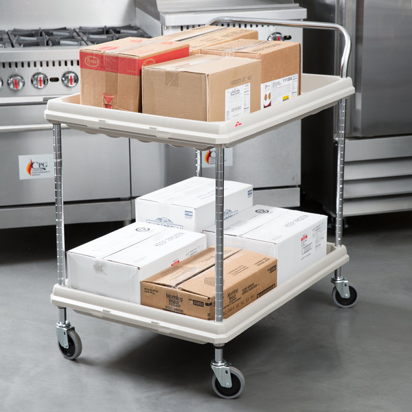 Metro BC2636 2DG Gray Utility Cart With Two Deep Ledge Shelves 38 3/4