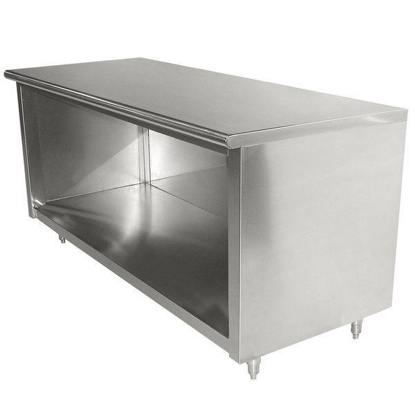 """Advance Tabco EB-SS-366 36"""" x 72"""" 14 Gauge Open Front Cabinet Base Work Table"""