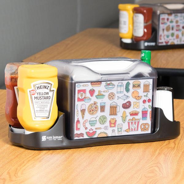 San Jamar H4005CTBK Venue Tabletop Fullfold Napkin Dispenser with Caddy Main Image 9