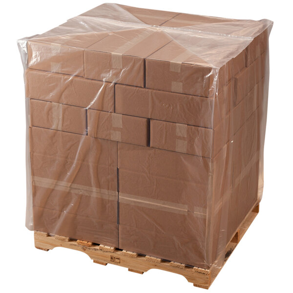 """Lavex Industrial 40"""" x 22"""" x 60"""" 2 Mil Clear Gusseted Polyethylene Pallet Cover on a Roll - 130/Roll Main Image 1"""