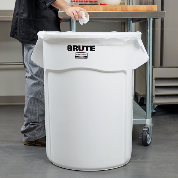 Rubbermaid FG265500WHT BRUTE White 55 Gallon Trash Can
