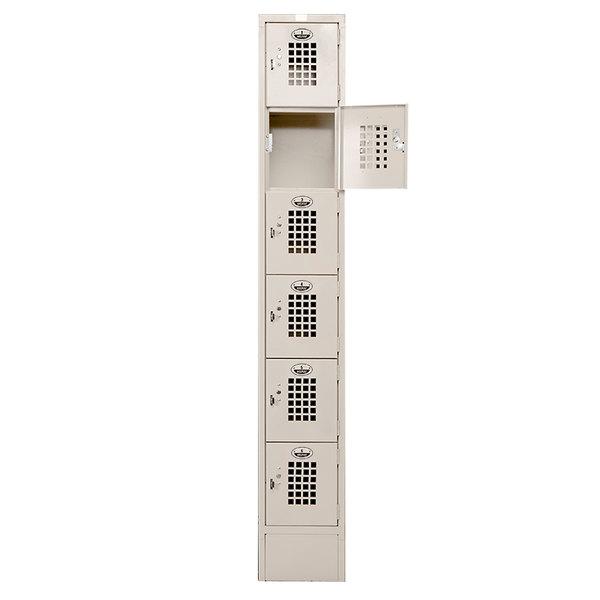 """Winholt WL-55 Single Column Five Door Locker with Perforated Doors - 12"""" x 12"""""""