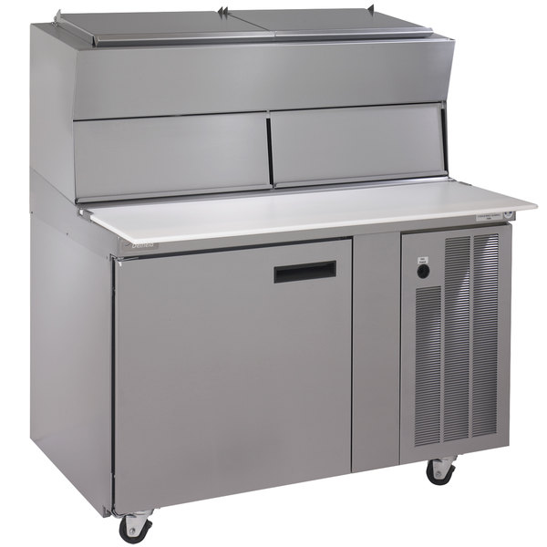 "Delfield 18648PDLV 48"" One Door Refrigerated Pizza Prep Table with Dual LiquiTec Raised Rails Main Image 1"