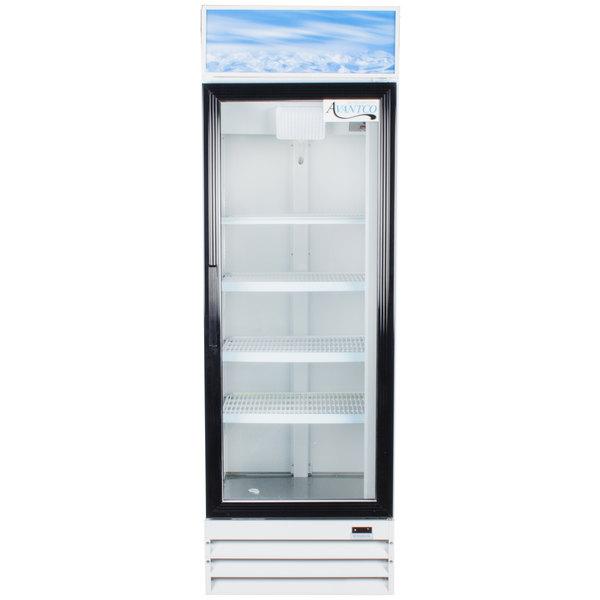 Avantco GDC15 26 inch Swing Glass Door White Merchandiser Refrigerator with LED Lighting