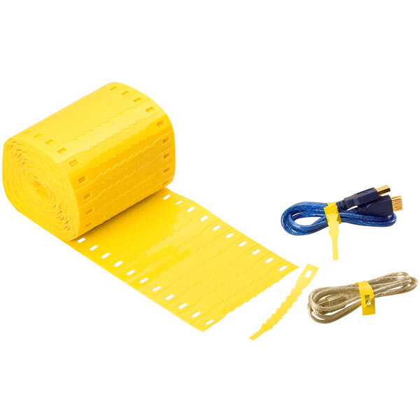 "Lavex Industrial 5"" Yellow Plastic Self-Locking Adjustable Ties - 1000/Case Main Image 1"