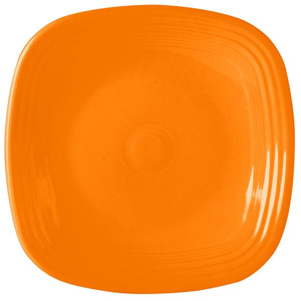 "Homer Laughlin 919325 Fiesta Tangerine 10 3/4"" Square Plate - 12/Case"