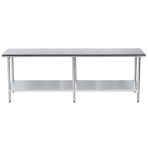 """Advance Tabco ELAG-308-X 30"""" x 96"""" 16 Gauge Stainless Steel Work Table with Galvanized Undershelf"""
