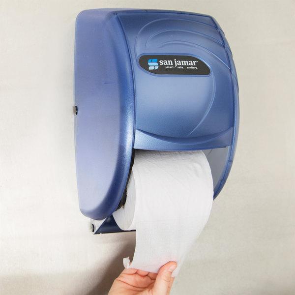 San Jamar R3590TBL Duett Oceans Toilet Tissue Dispenser - Arctic Blue Main Image 10