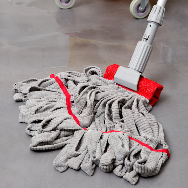 Unger ST25R SmartColor WingLite ST25 Series 9 oz. Red Microfiber String Mop Head with 16 Strands
