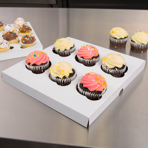 """Reversible Cupcake Insert for 10"""" x 10"""" Cake Boxes - Standard - Holds 6 Cupcakes - 10/Pack"""