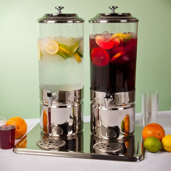 Choice 3.7 Gallon Stainless Steel and Polycarbonate Double Beverage Dispenser Main Image 4