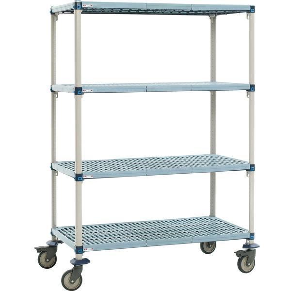 "Metro Q566EG3 MetroMax Q Open Grid Shelf Cart with Polyurethane Casters - 60"" x 24"" x 69"""