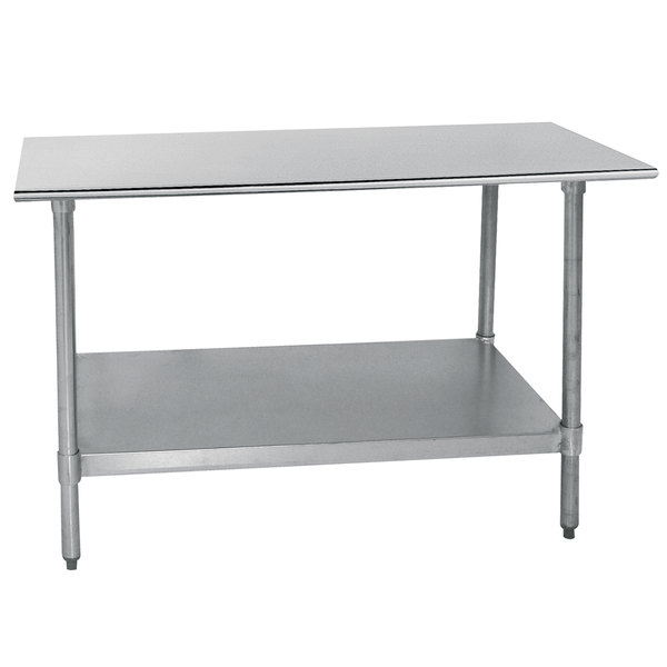"Advance Tabco TT-306-X 30"" x 72"" 18 Gauge Stainless Steel Work Table with Galvanized Undershelf"